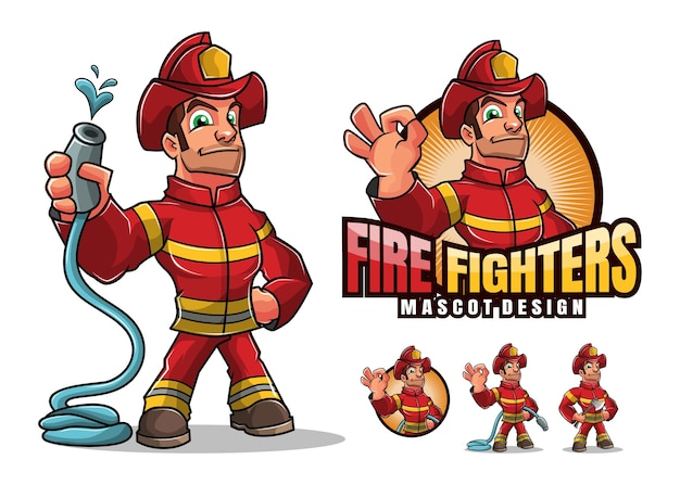 Fire fighters mascot illustration