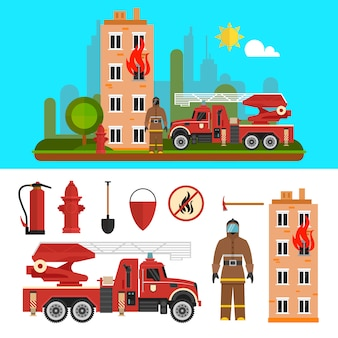 Fire fighting department objects isolated. fire station and firefighters