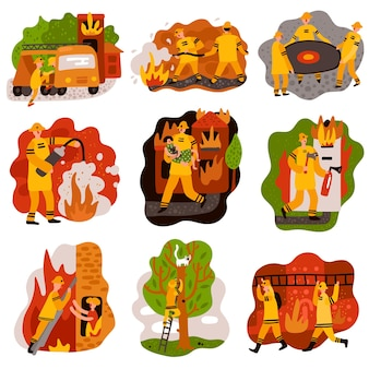 Fire fighting set of flat compositions rescue