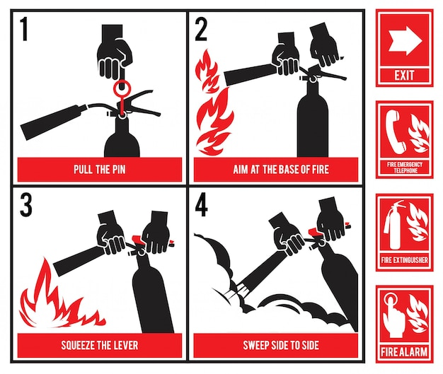 Fire fighting technical .  silhouette of fire extinguisher