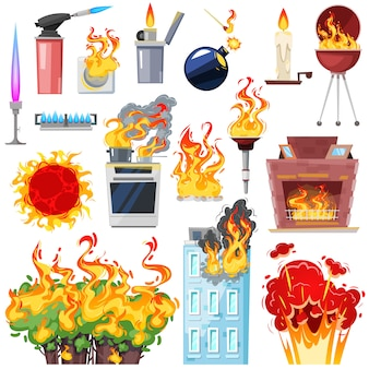 Fire  fired house with burnt door fiery smoky kitchen in hot flame blaze illustration set of lighter and fireplace  on white background