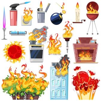 Огонь уволен дом с сгоревшей дверью огненно-дымный кухня в горячем пламени blaze иллюстрации набор зажигалки и камин на белом фоне