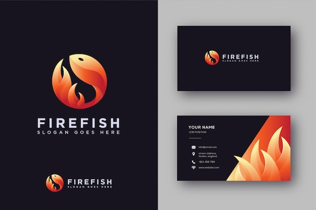Fire fish logo and business card
