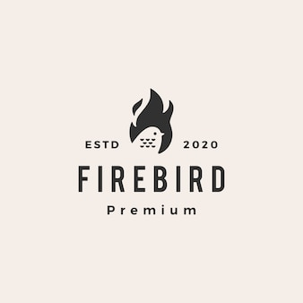 Fire flame bird hipster vintage logo  icon illustration