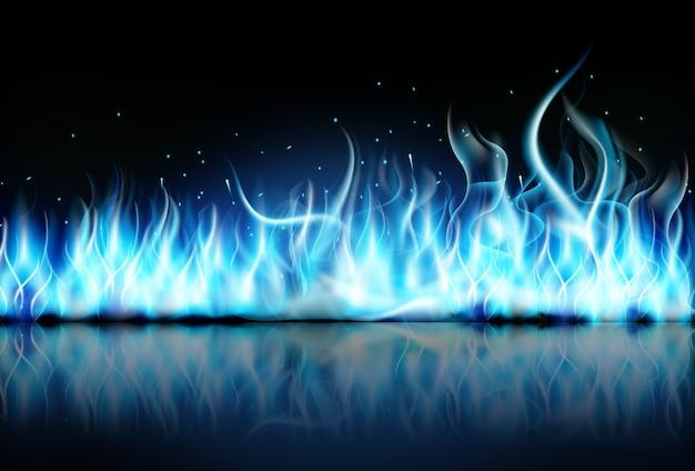 검은 배경에 파란색 불 불꽃