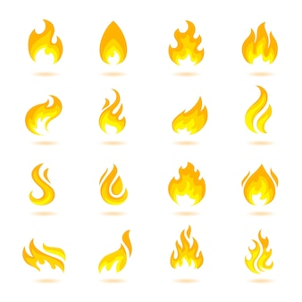 Fire flame burn flare torch hell fiery icons set isolated vector illustration