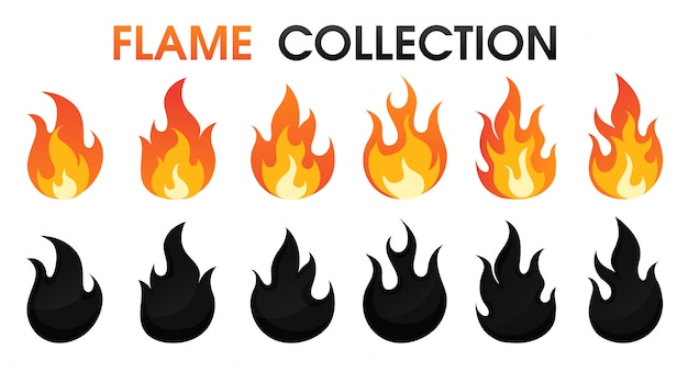 Fire flame collection flat cartoon style.