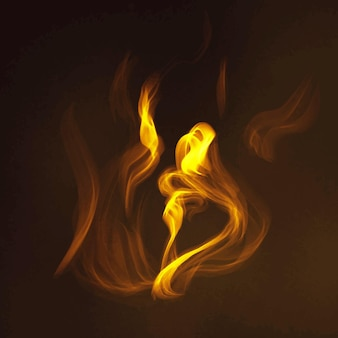 Fire flame element vector in black background