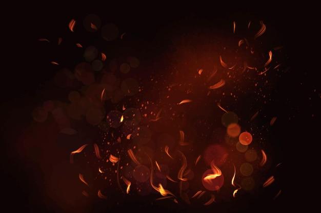 Vettore dell'elemento della fiamma del fuoco nel fondo nero