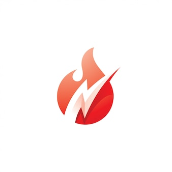 Fire flame and flash lightning bolt logo