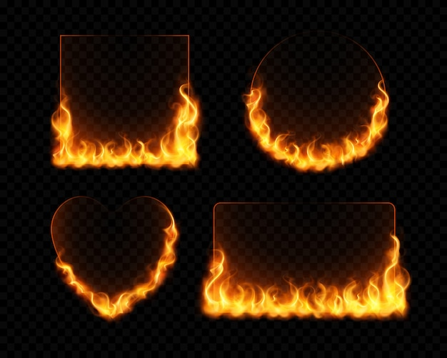 Fire flame frames realistic set of burning geometrical figures on dark transparent background isolated