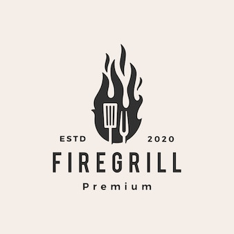 Fire flame grill spatula fork hipster vintage logo icon illustration