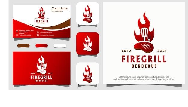 Огонь пламя гриль шпатель вилка хипстер винтаж логотип