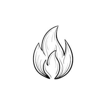 화재 불꽃 손으로 그린 개요 낙서 아이콘입니다. 흰색 배경에 고립 된 인쇄, 웹, 모바일 및 infographics에 대 한 화재 불꽃의 벡터 스케치 그림.