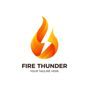 Fire flame lightning thunder logo template