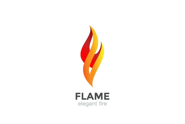 Fire flame logo abstract design elegant fashion jewelry template.