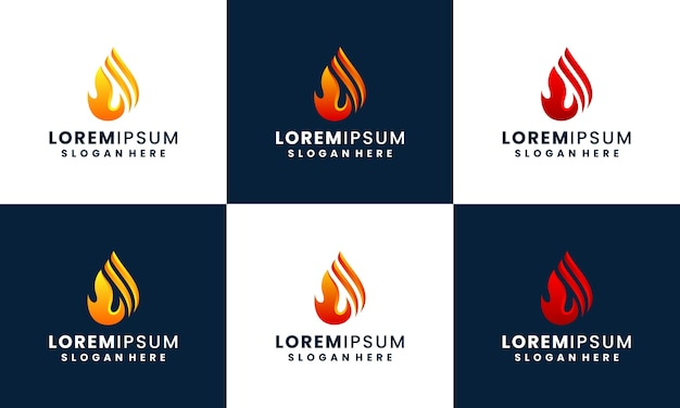 Fire and flame logo design collection template