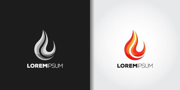 Fire flame logo set idea