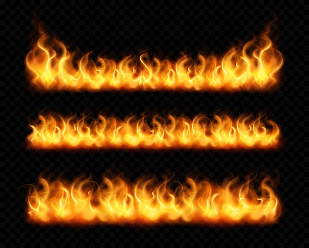 Fire flame realistic borders set of horizontal burning bonfires isolated on dark transparent background