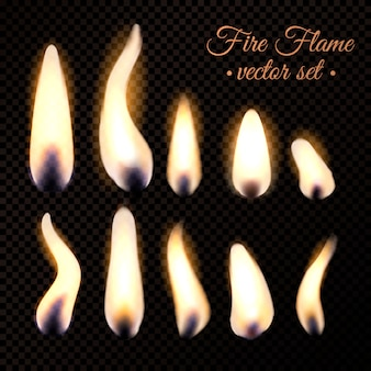 Fire flame realistic set