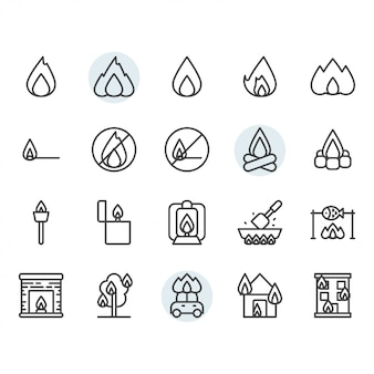 Fire flame related icon and symbol set in outline