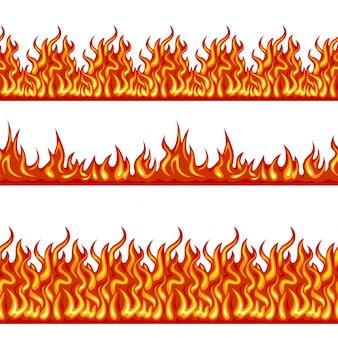 火の炎のシームレスな境界線セット。