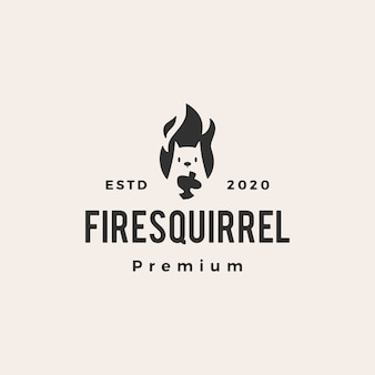 Fire flame squirrel hipster vintage logo  icon illustration