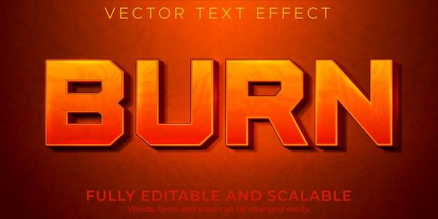 화재 불꽃 텍스트 효과 편집 가능한 빨간색과 뜨거운 스타일