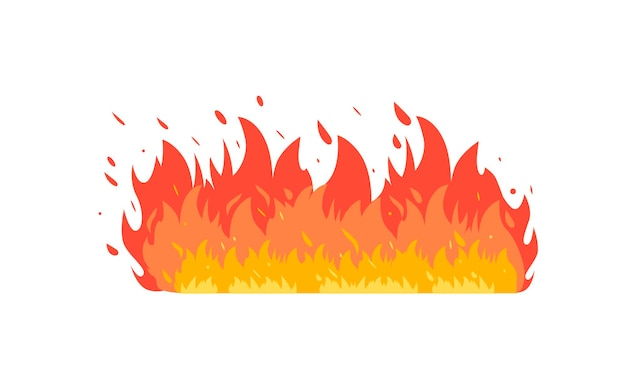 Fire flame of various shapes. vector icons in cartoon style. isolated background.