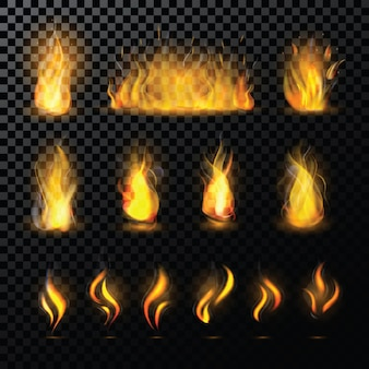 Fire flame vector fired flaming bonfire in fireplace and flammable campfire illustration fiery or flamy set with wildfire isolated on transparent space