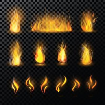 Огонь пламя вектор выстрелил пылающий костер в камине и огнеопасные иллюстрации костра огненный или пламенный набор с лесным пожаром, изолированных на прозрачном пространстве