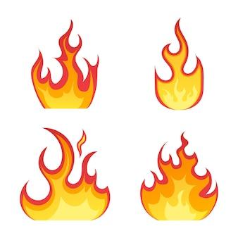 白い表面に漫画風の炎のアイコンを発射します。さまざまな形の炎。