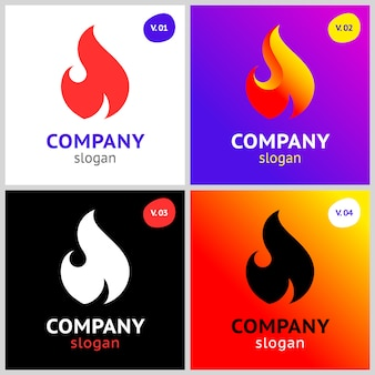 Fire flames, new colored set on gradient