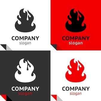 Fire flame 새로운 세트, 로고용 4가지 변형