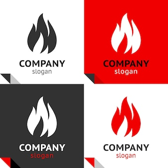 Fire flames new set, four variants for your logo