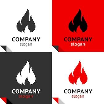 Fire flames new set, four variants