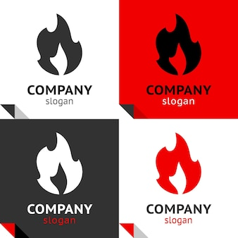 Fire flames set icons for your logo, vectors symbols