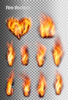 火の炎が設定されます。ベクター。