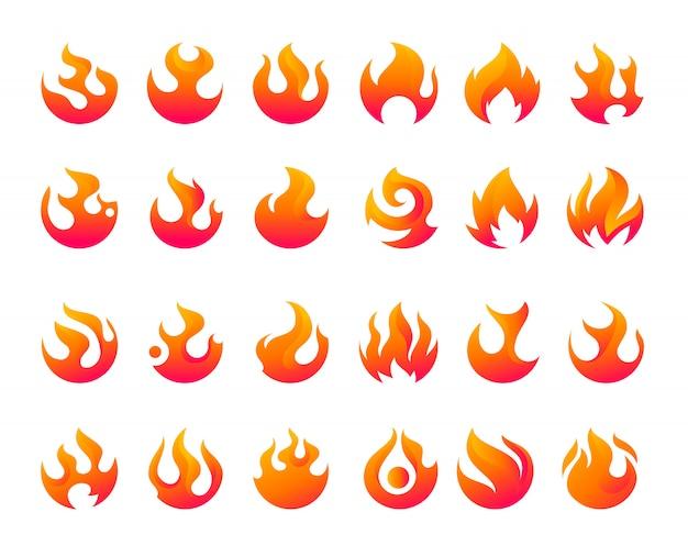 Fire flames vector icon set