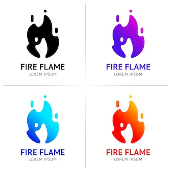 Fire flames with sparks colored vector set