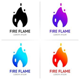 Огонь пламя с искрами цветной векторный набор