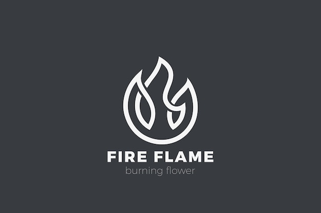 Fire flower logo. flame linear outline style. Free Vector