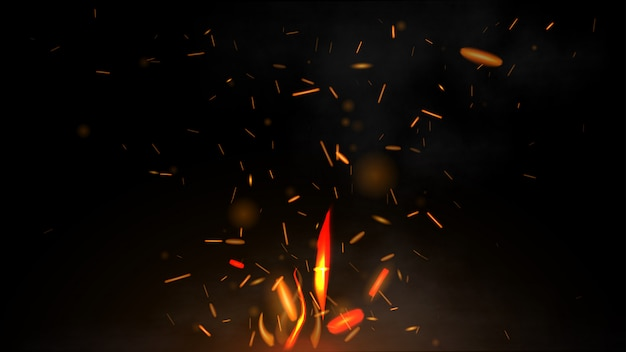 Fire flying sparks on a black background