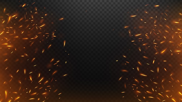Fire flying sparks with a transparent background