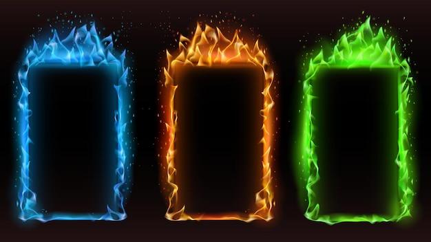 ファイヤーフレームは色が異なります。ベクトルの火のフレームの色、モーション効果オレンジと青の光る、危険可燃性バナーイラスト