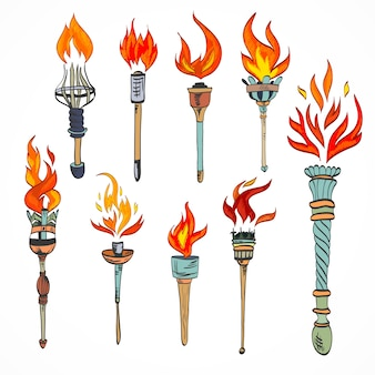 Fire glowing flame retro sketch torch icons set isolated vector illustration