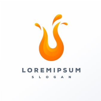 Fire gradient logo design ready to use