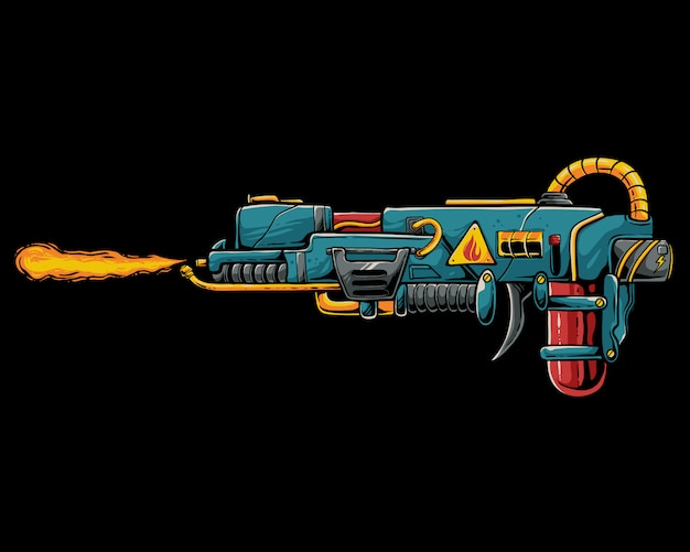 Fire gun to shoot zombie and alien illustration