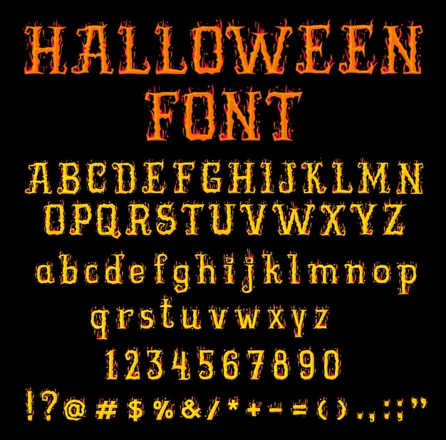 Fire halloween font or type