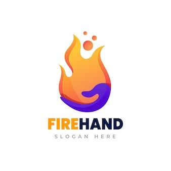 Шаблон логотипа градиента огненной руки